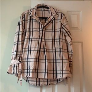 Crown & ivy pink and black plaid popover, size S